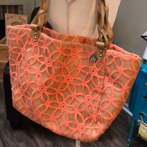 Big Buddha leather and floral tote